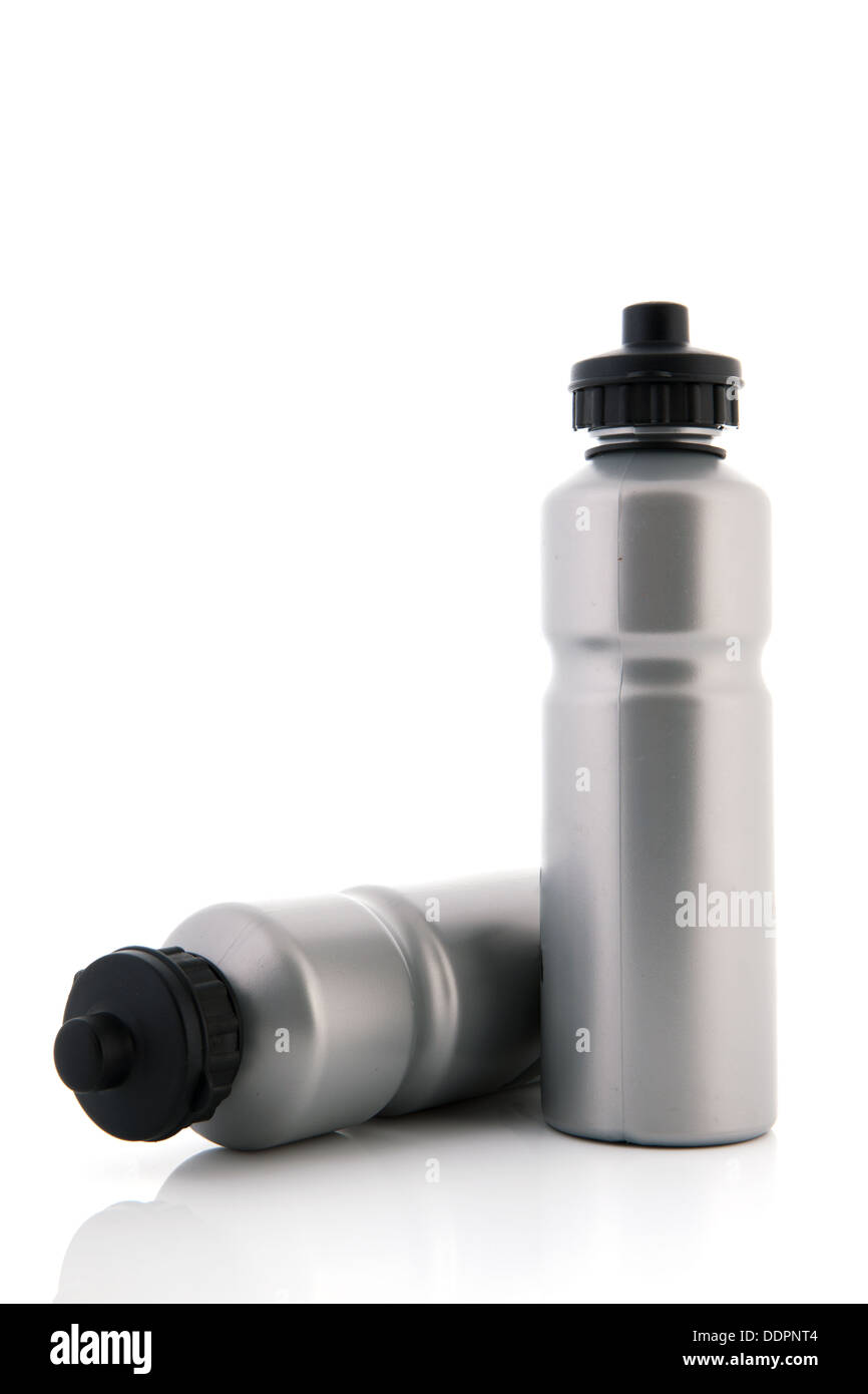 Two grey sports water bottles isolated over white bottles - Stock Image
