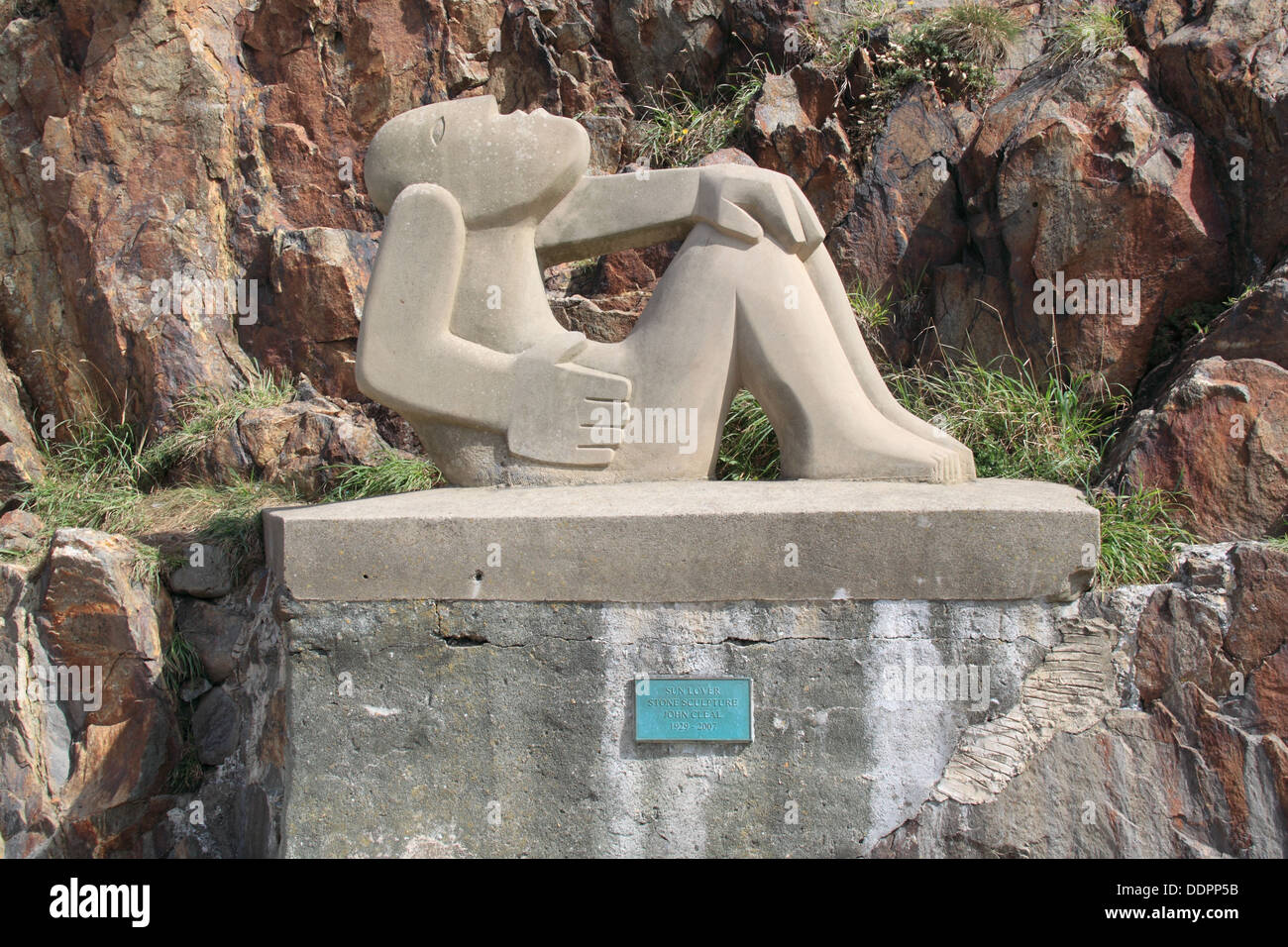 'Sun Lover' by John Cleal, Lower Town harbour, Fishguard, Pembrokeshire, Wales, Great Britain, United Kingdom, UK, Europe - Stock Image