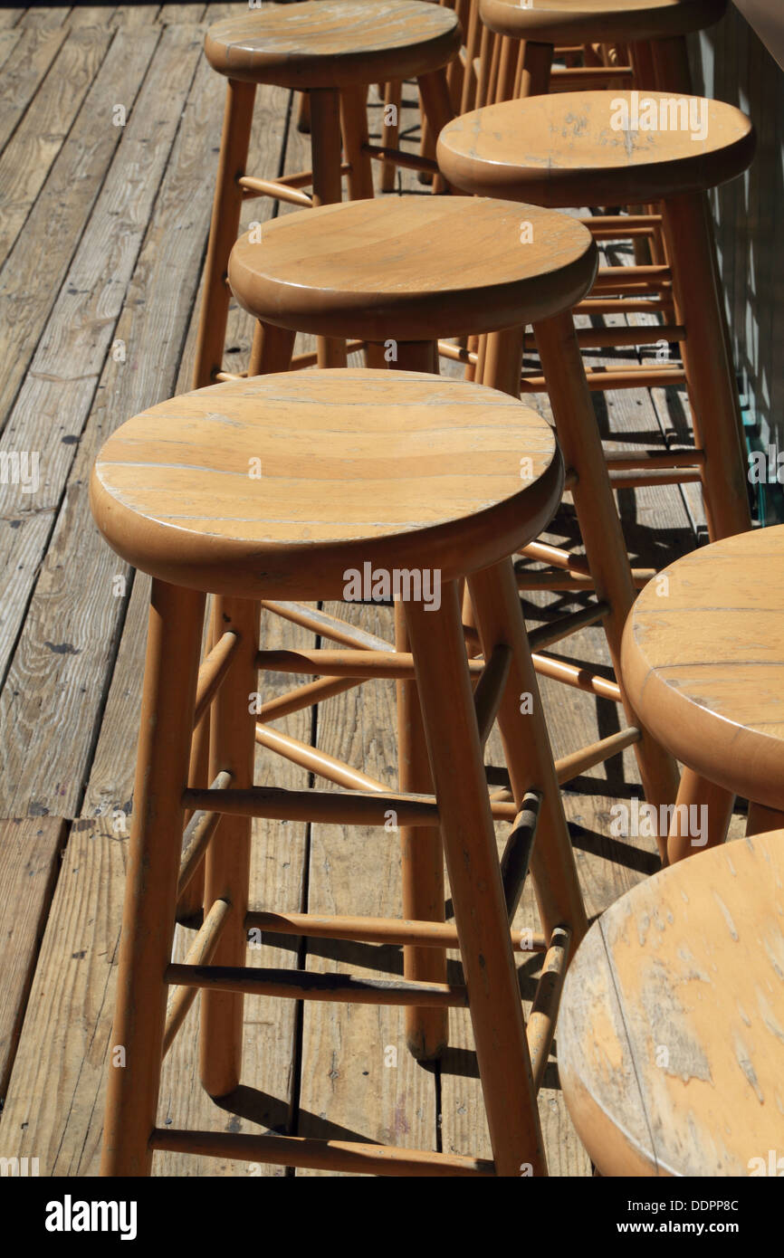 Good Empty Wooden Bar Stools At A Tiki Bar In Point Pleasant Beach, New Jersey,  USA