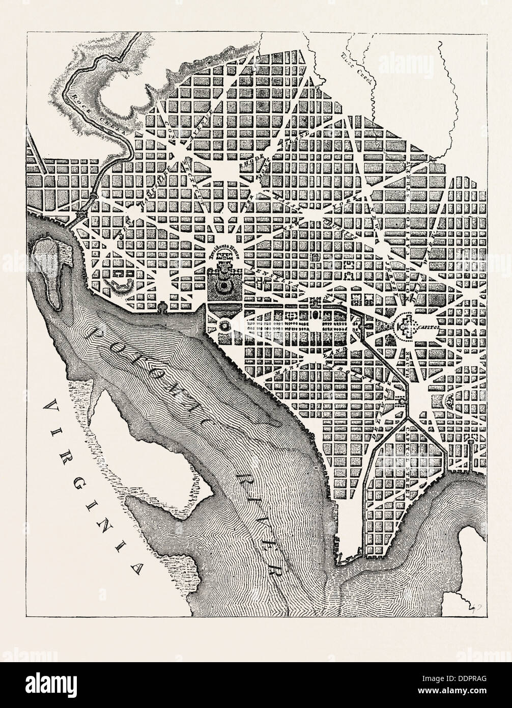 PLAN OF THE CITY OF WASHINGTON, AS ORIGINALLY LAID OUT (From a Plate published in 1793.), UNITED STATES OF AMERICA, US, USA - Stock Image