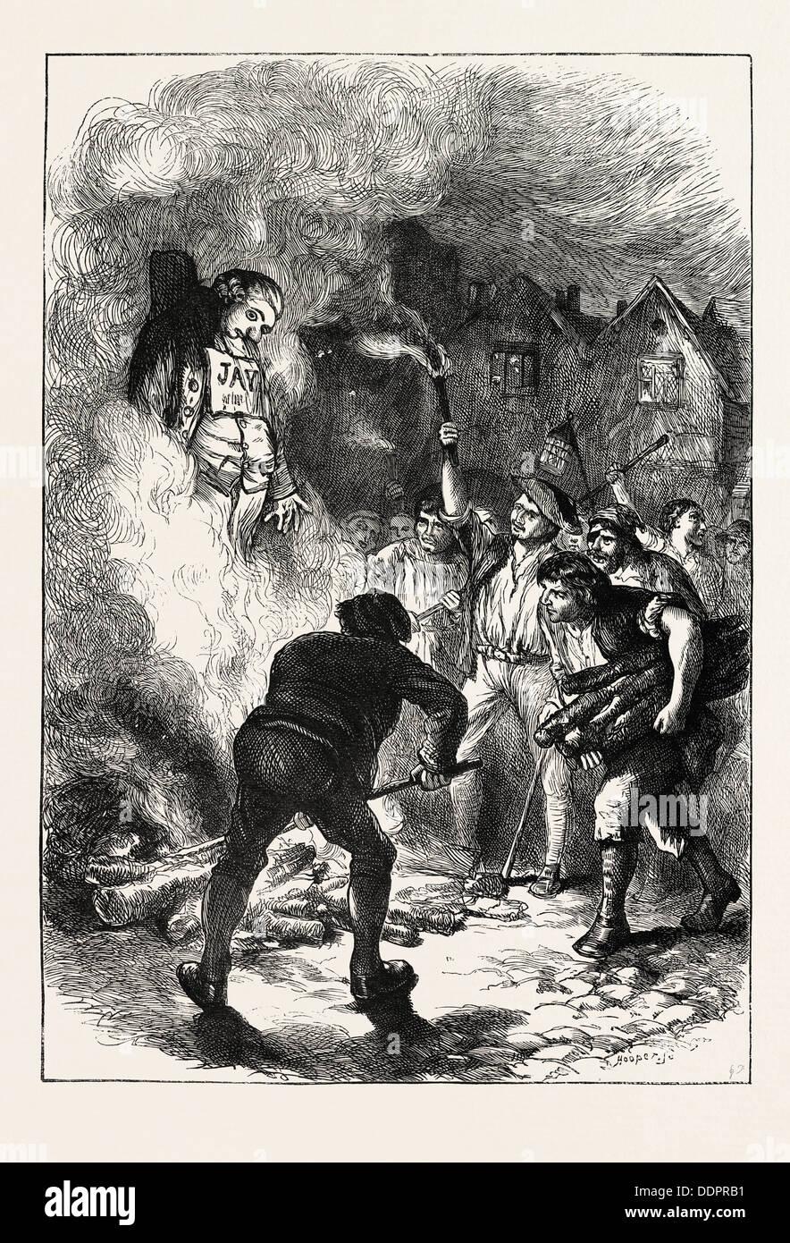 BURNING JOHN JAY'S EFFIGY, US, USA, 1870s engraving - Stock Image