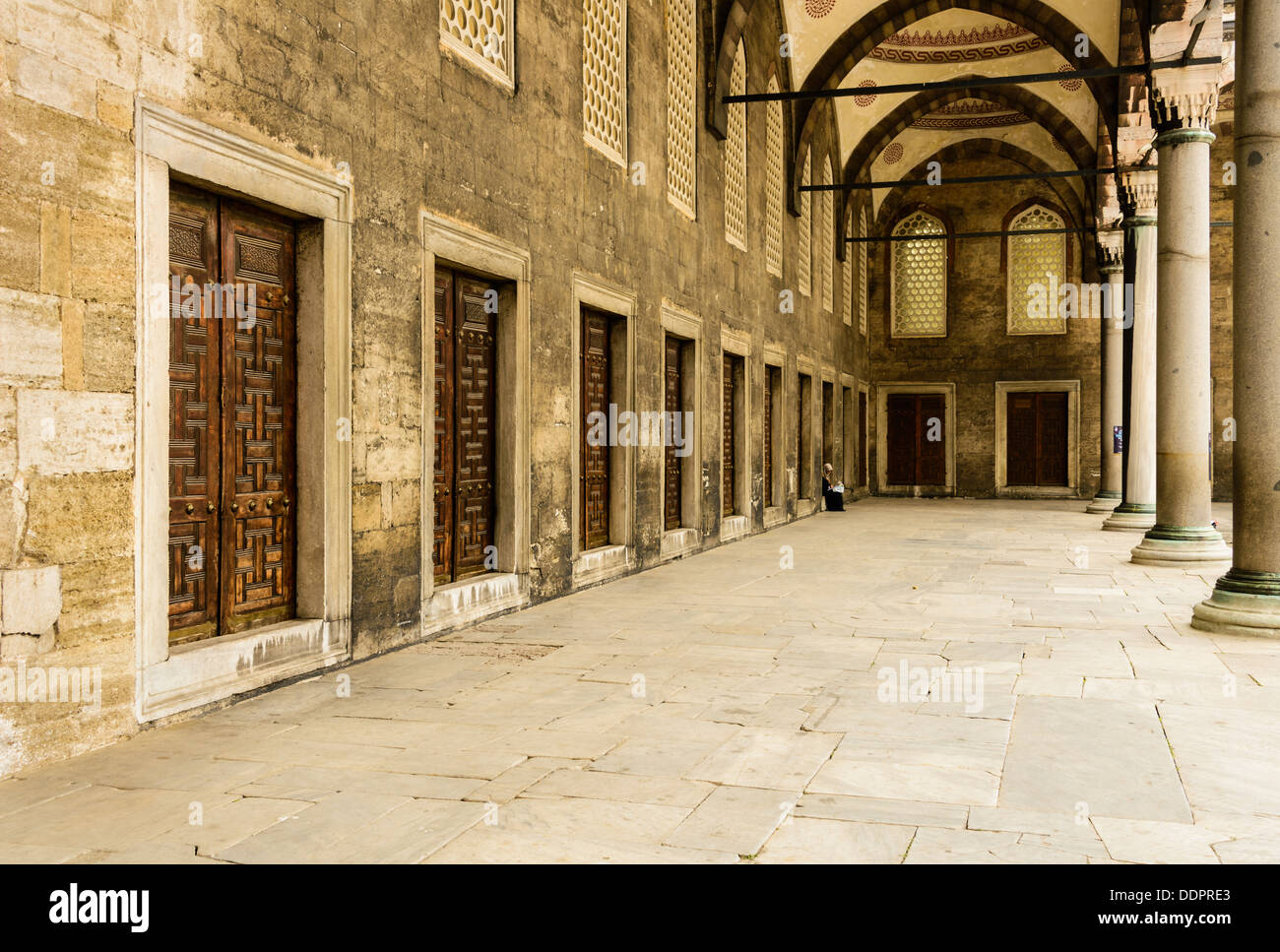 Blue Mosque Hallway in the main courtyard, Istanbul,Turkey - Stock Image