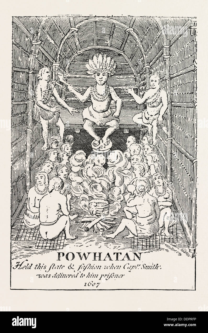 POWHATAN IN STATE. (From Smith's Virginia) Powhatan was the paramount chief of a network of tributary tribal nations - Stock Image