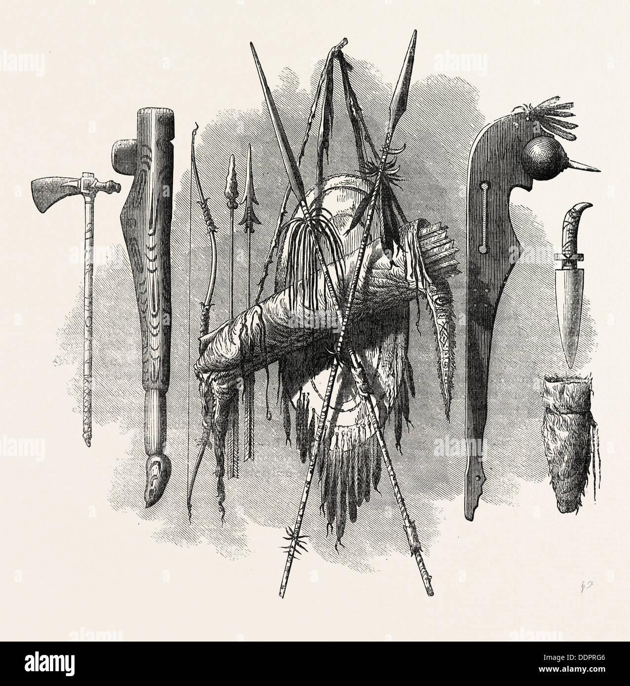 INDIAN WEAPONS; SPEAR, AXE, BOW AND ARROW, US, USA, 1870s engraving - Stock Image