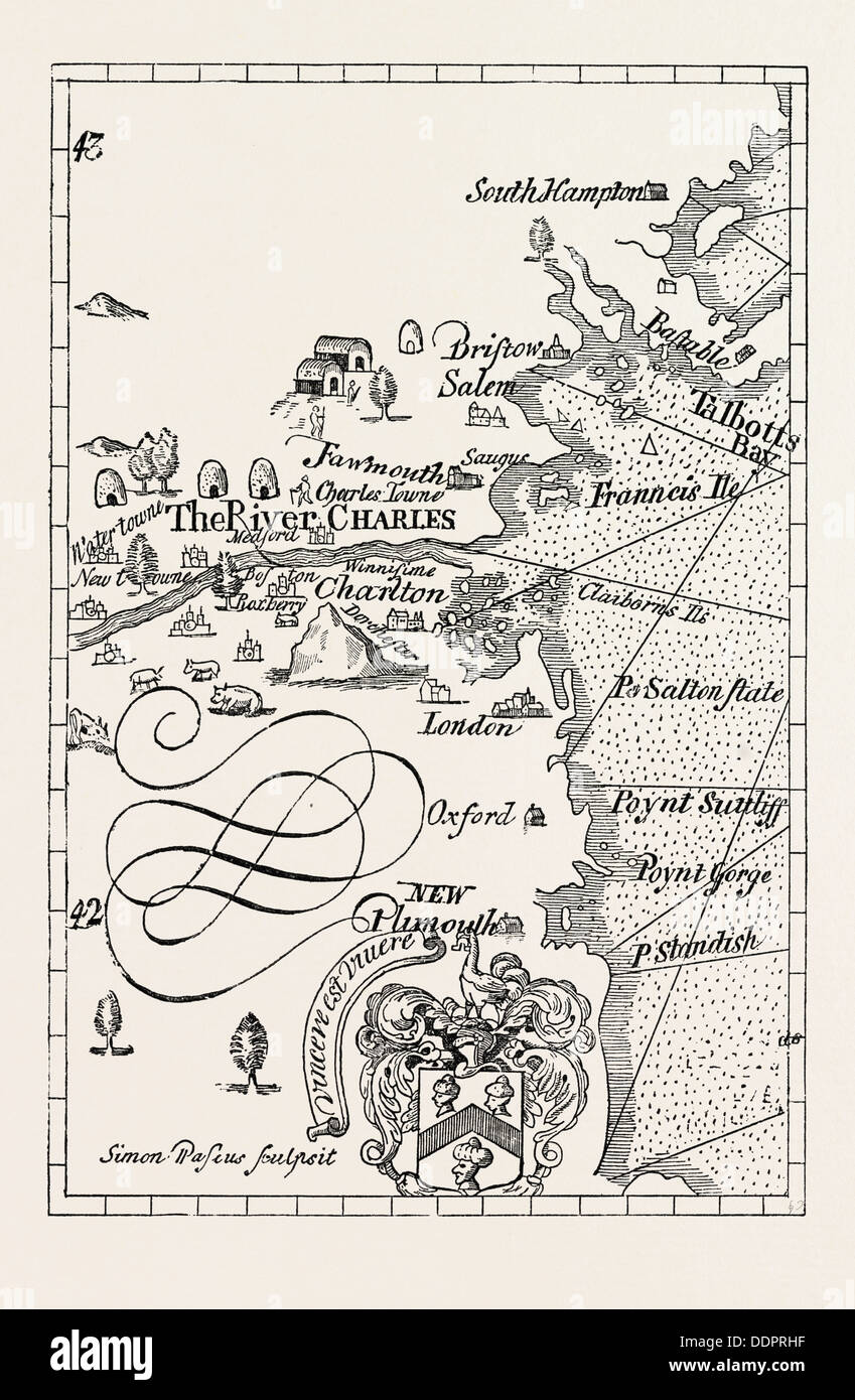 PART OF CAPTAIN J. SMITH'S MAP OF NEW ENGLAND. FROM ADVERTISEMENTS FOR THE UNEXPERIENCED PLANTERS OF NEW ENGLAND OR ANYWHERE - Stock Image