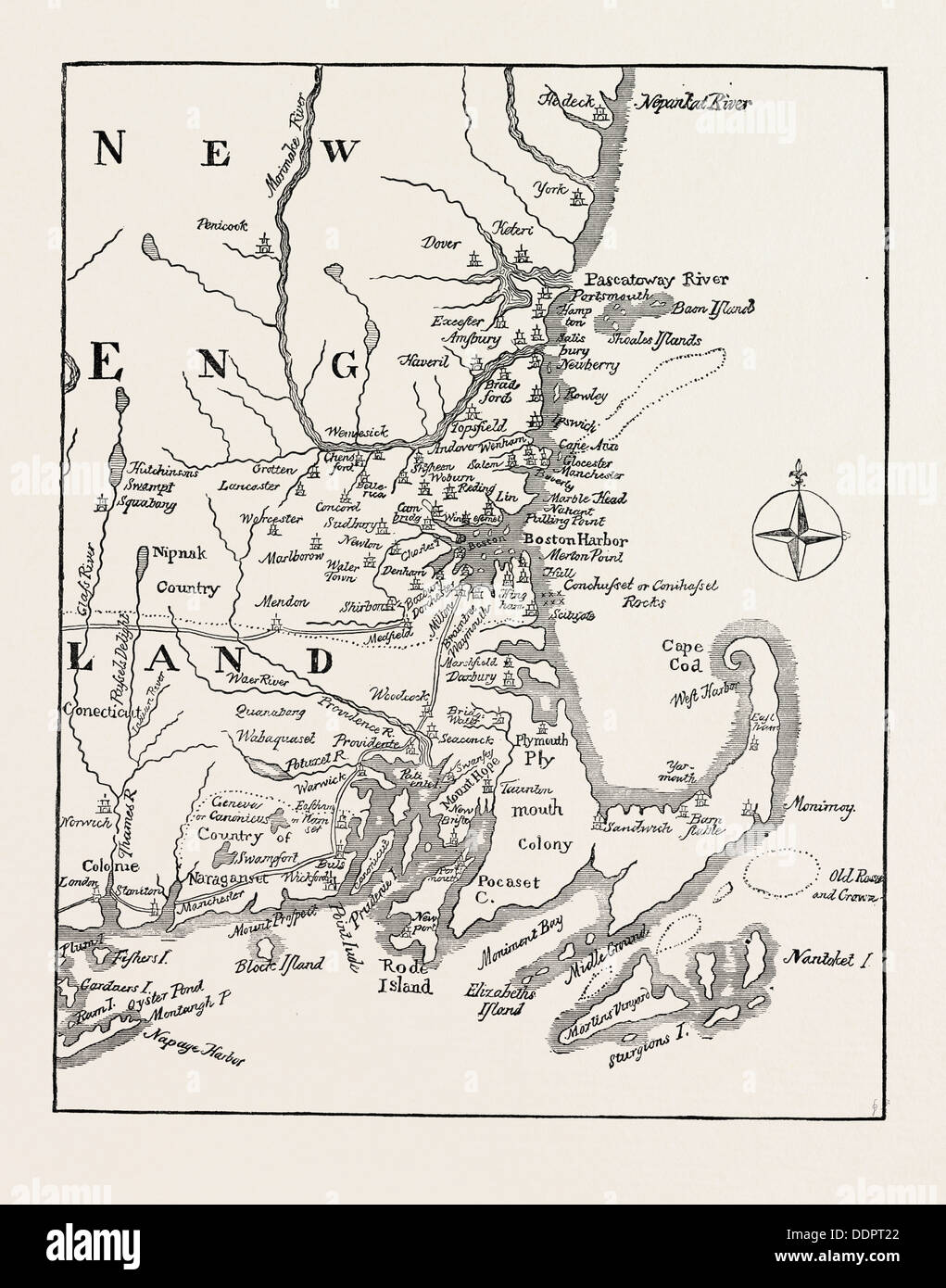 MAP OF NEW ENGLAND AT THE BEGINNING OF THE EIGHTEENTH CENTURY From Mather's Magnalia, UNITED STATES OF AMERICA, US, USA, 1870s - Stock Image