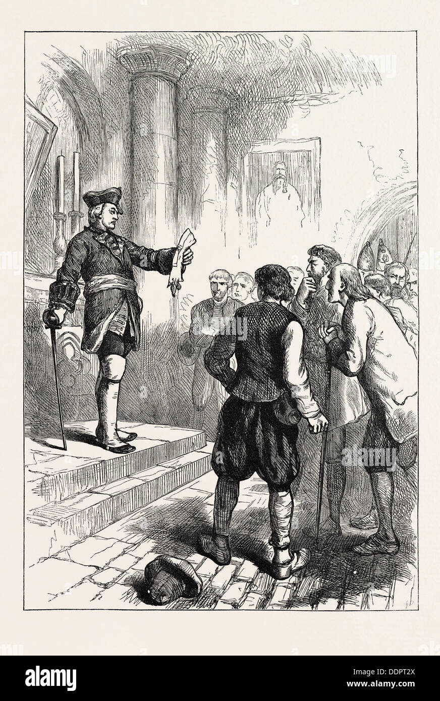 WINSLOW READING THE ROYAL PROCLAMATION, US, USA, 1870s engraving - Stock Image