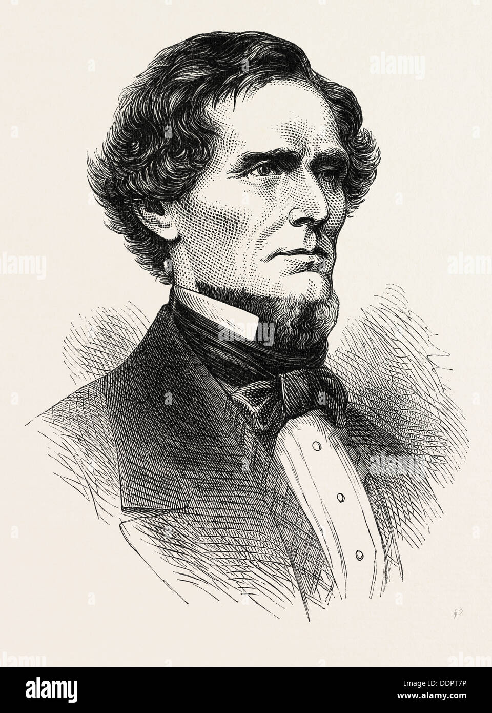 JEFFERSON DAVIS, He was an American statesman and leader of the Confederacy during the American Civil War - Stock Image