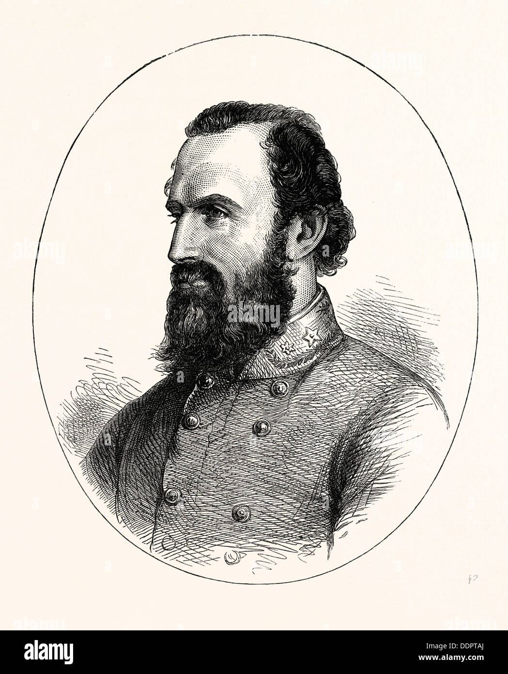 STONEWALL JACKSON, AMERICAN CIVIL WAR, UNITED STATES OF AMERICA, US, USA, 1870s engraving - Stock Image
