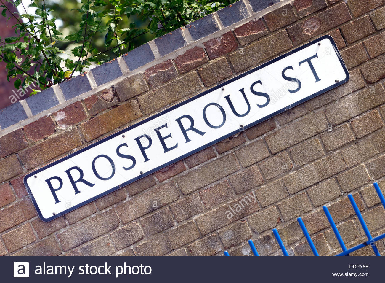 Close-up of the sign for Prosperous Street, Poole, Dorset, England - Stock Image