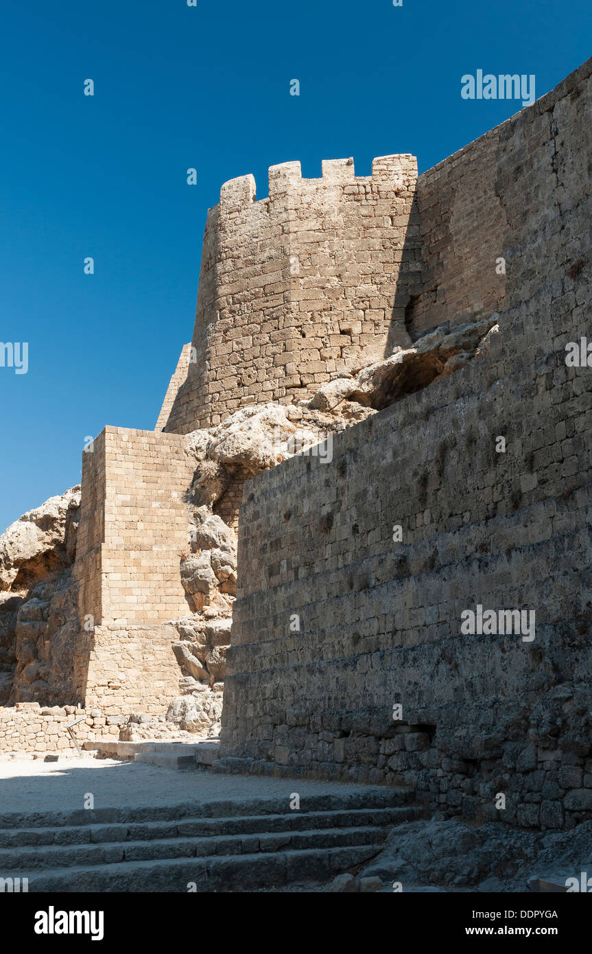 Ruins of fortifications in Acropolis Lindos - Stock Image