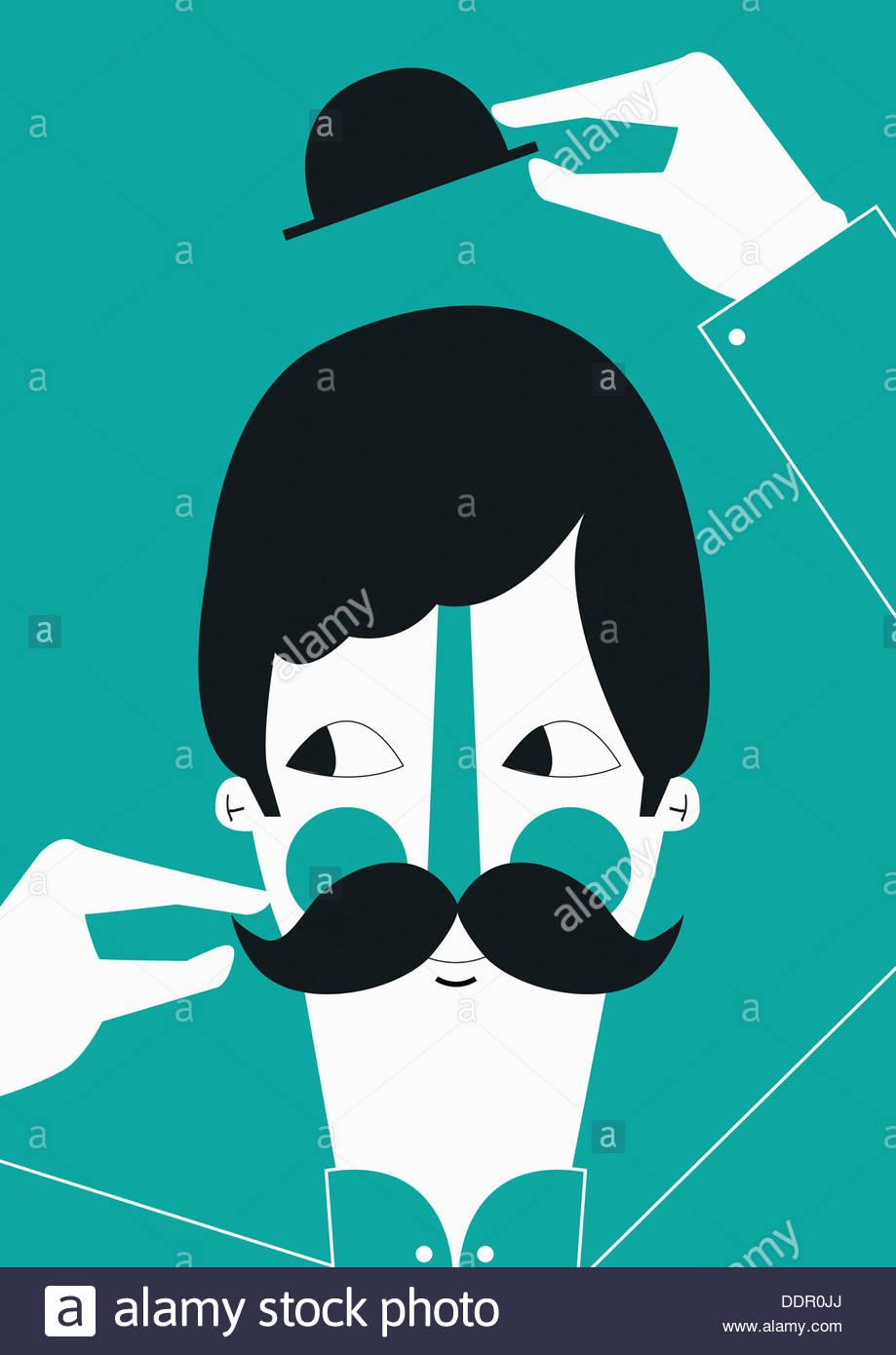 Man raising bowler hat and twisting mustache - Stock Image