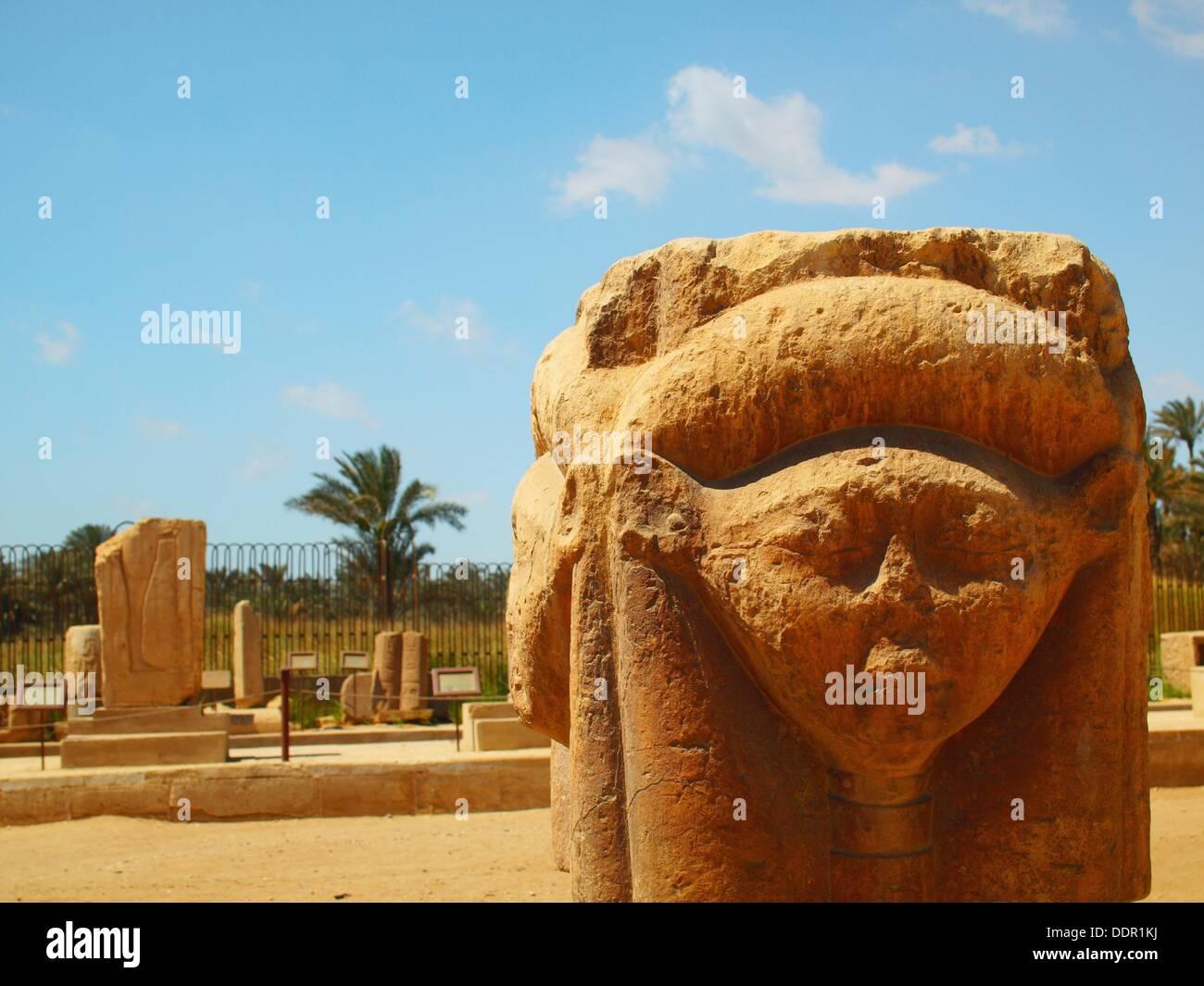 Escultura, Museo de Memphis, Egipto - Stock Image