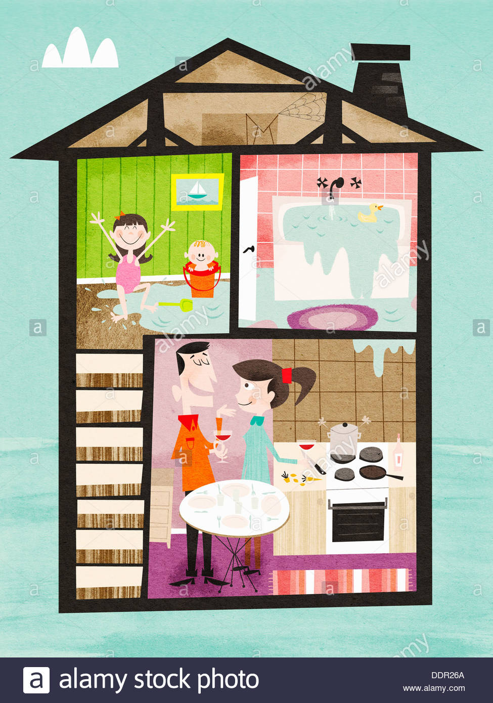 Children playing in water from overflowing bath upstairs and parents drinking wine downstairs - Stock Image