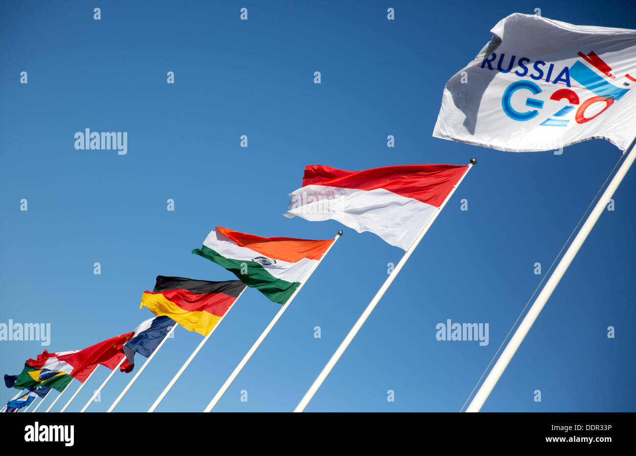 St. Petersburg, Russia. 06th Sep, 2013. Flags of G20 states are pictured at the G20 summit. The G20 summit takes Stock Photo