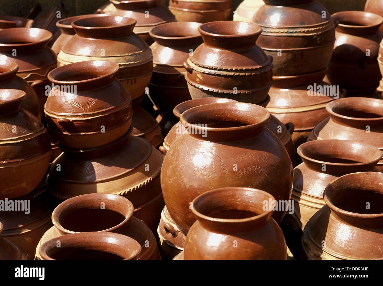 clay pot artisan Clay pots on artisan market. Ouagadougou. Burkina Faso. West