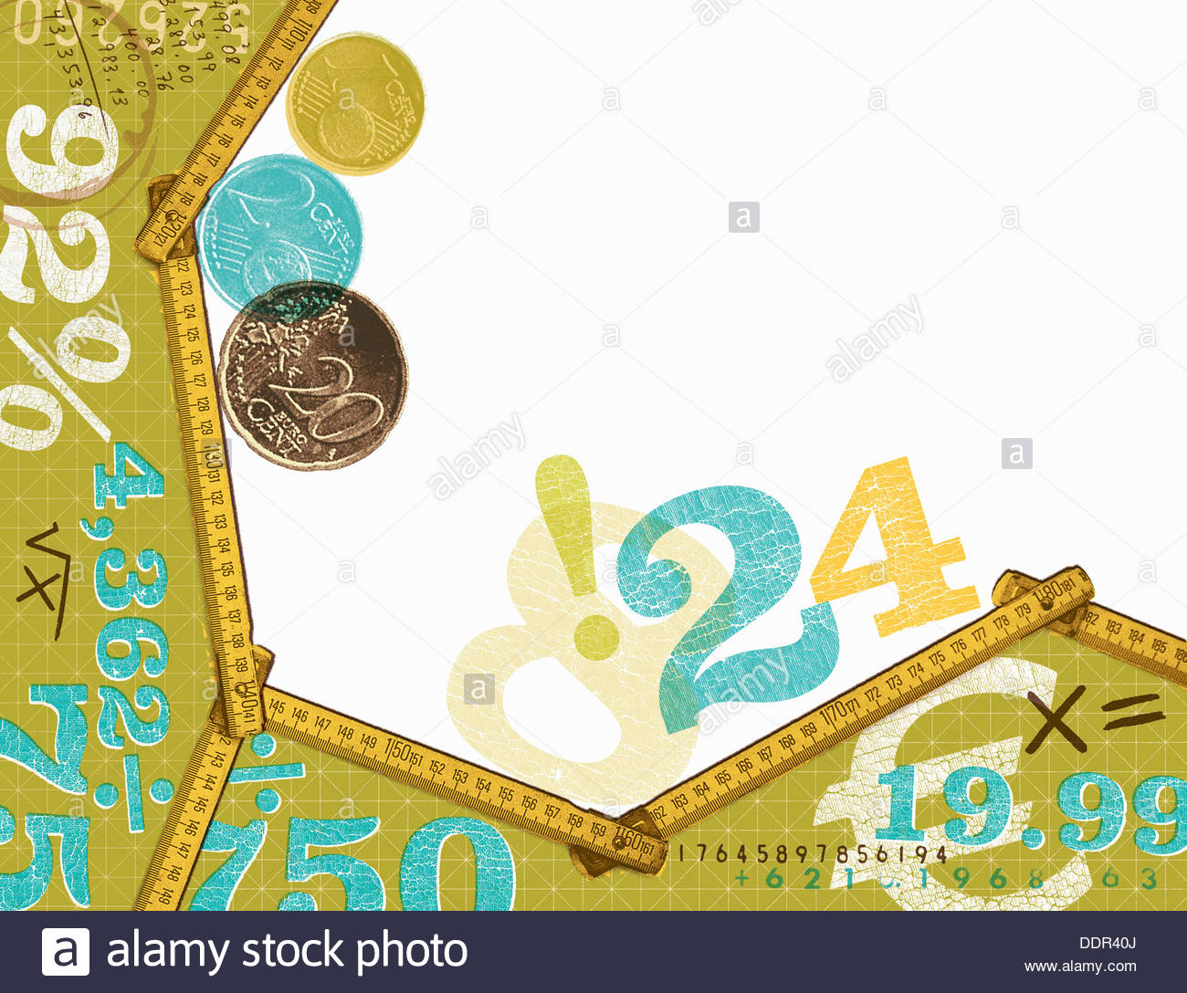 Euro coins and calculations - Stock Image
