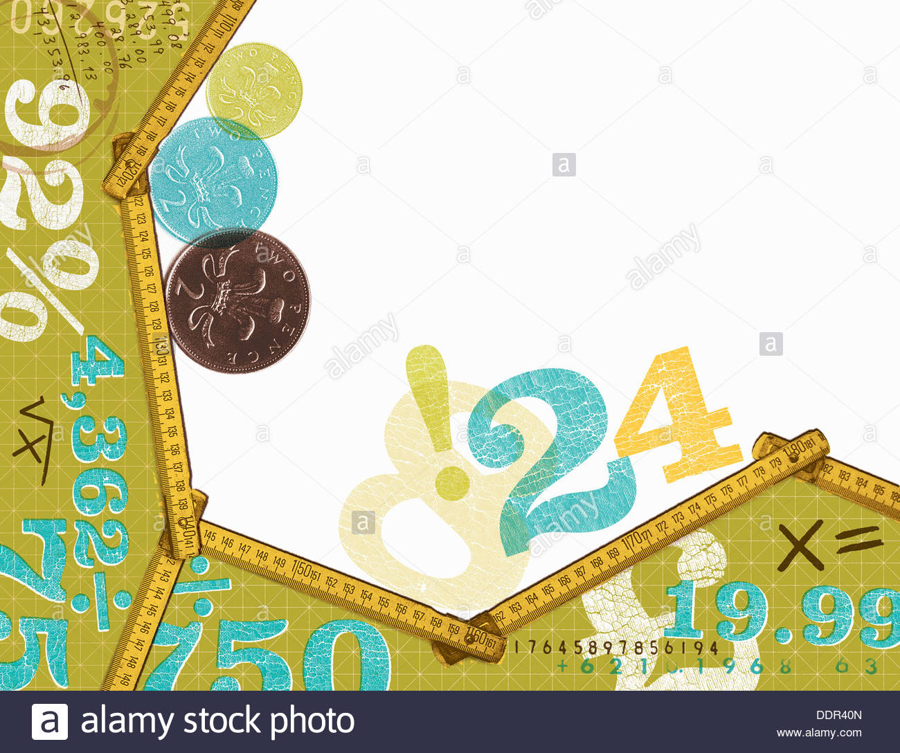 British coins and calculations - Stock Image