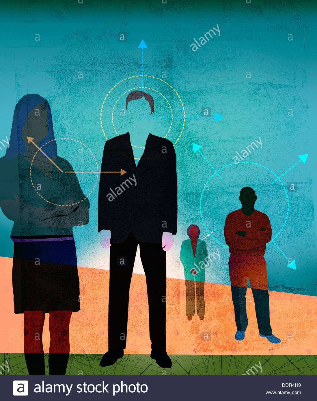 Arrows and circles around men and women - Stock Image