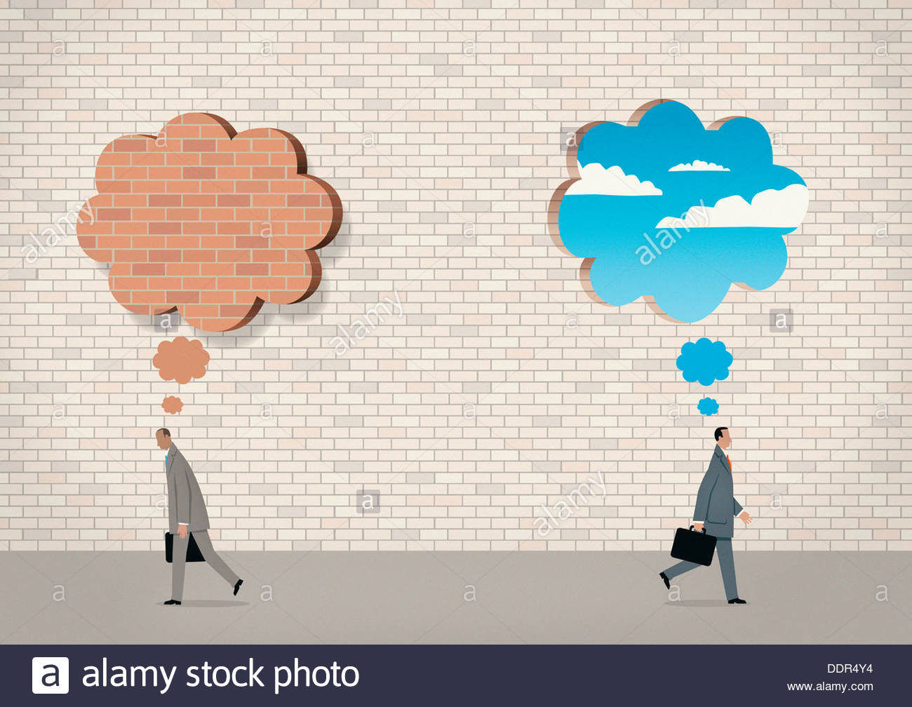 Brick wall thought bubble and blue sky thought bubble above businessmen - Stock Image