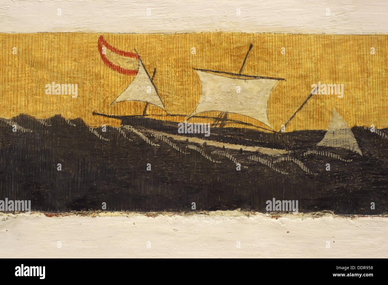 Mural painting depicting Antonio Riquer´s sailing ship (18th century) in church, Sant Miquel de Balansat, Ibiza. Balearic - Stock Image