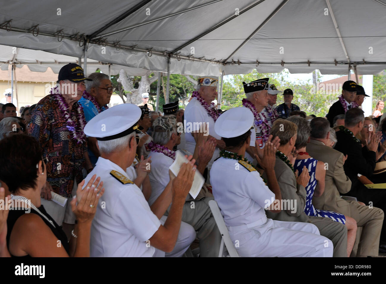 World War II survivors receive recognition at the USS Missouri Memorial Association 68th anniversary celebration commemorating The End of World War II, Monday, Sept. 2, at the Battleship Missouri Memorial, Pearl Harbor, Hi. The ceremony, was followed by t - Stock Image