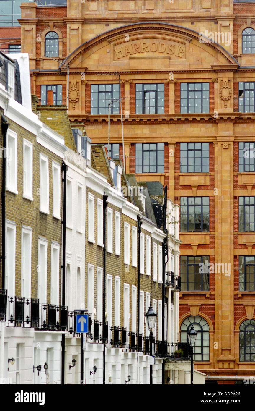 Harrod´s and brick buildings. London. England - Stock Image