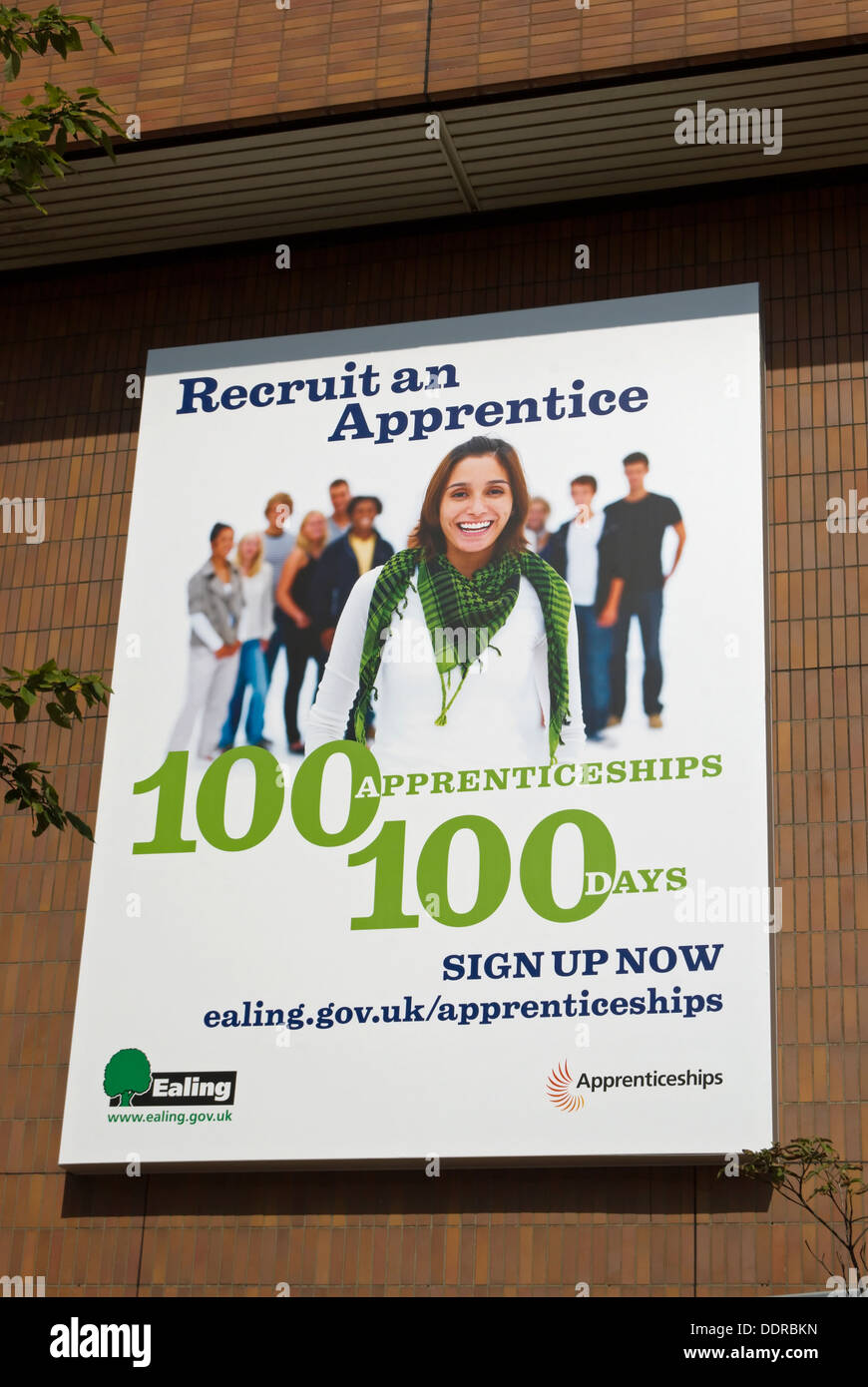 recruit an apprentice poster at the offices of ealing council, london, england - Stock Image