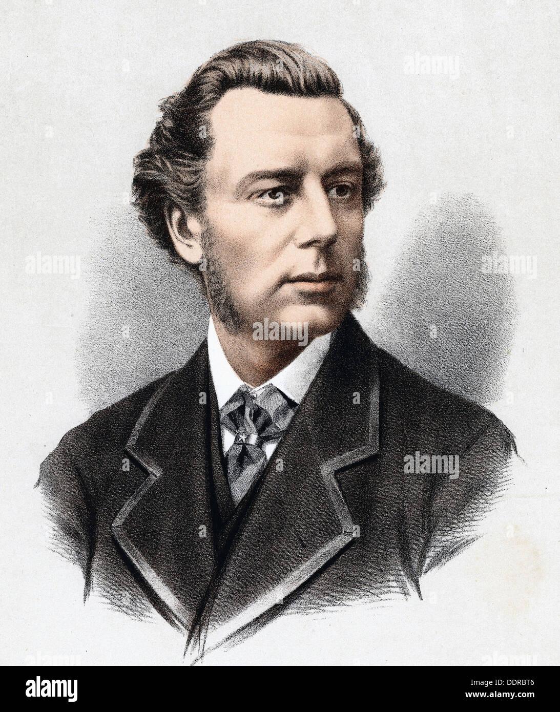 Joseph Chamberlain - British statesman - lithograph - 1880 - Stock Image