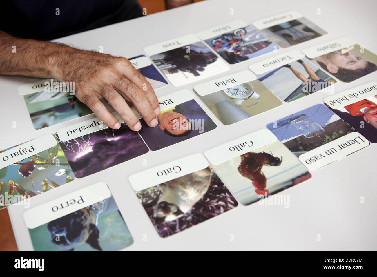 Occupational therapy, puzzle: exercise in cognitive memory training session. Hospital Universitario de Gran Canaria Doctor - Stock Image