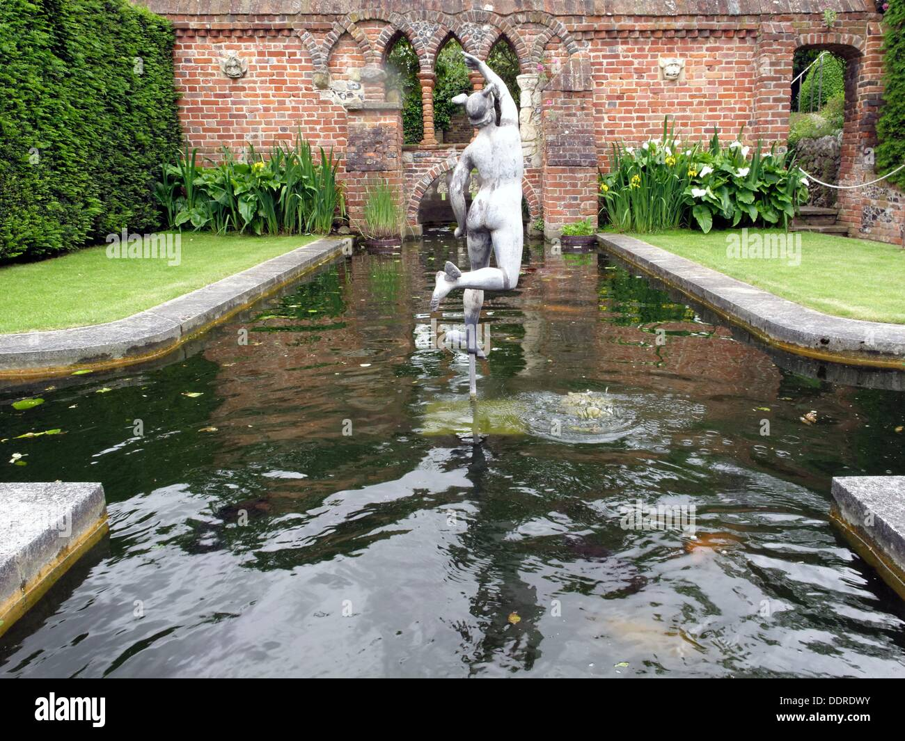 Pond Situated In The Garden. Romantic Statue. Restoration House In  Rochester Is A Fine
