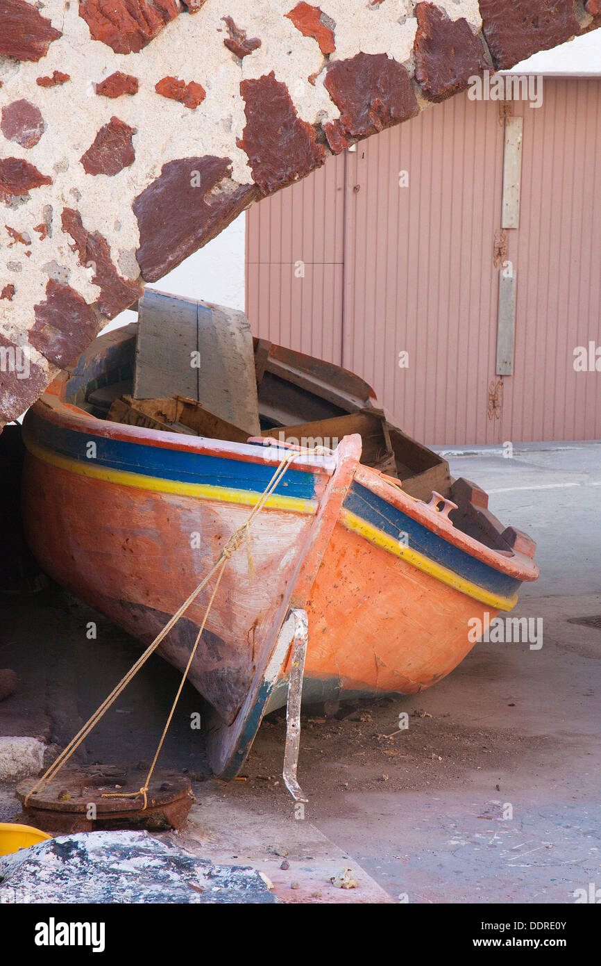 Old fishing boat in need of some TLC and restoration. - Stock Image