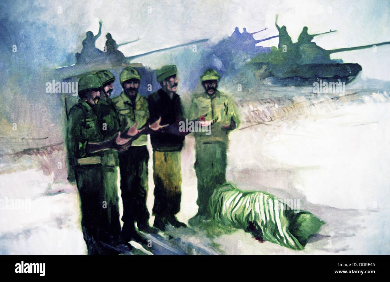 Saddam Hussein´s propaganda poster. Bagdad. Iraq - Stock Image