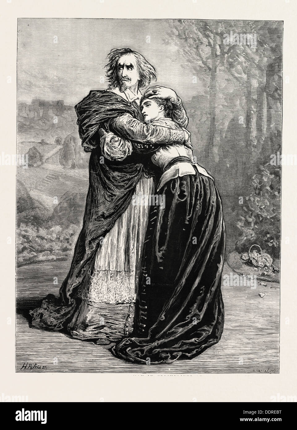 MR. IRVING AND MISS ISABEL BATEMAN IN RICHELIEU AT THE LYCEUM THEATRE, LONDON, UK, 1873 engraving - Stock Image