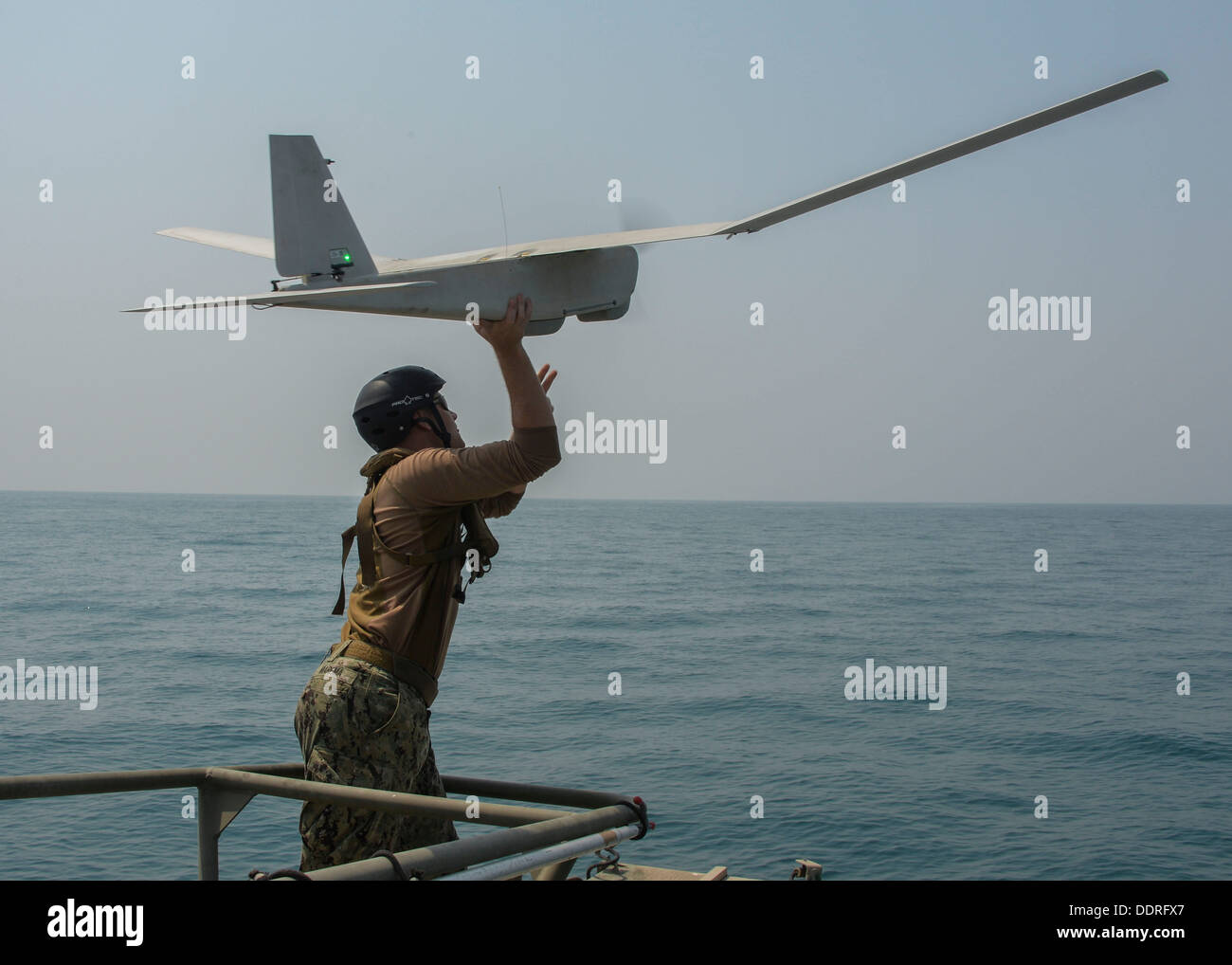 Puma AE unmanned aerial vehicle from a Riverine Command Boat (RCB), at-sea. RCBs provide a multi-mission platform for the U.S. - Stock Image