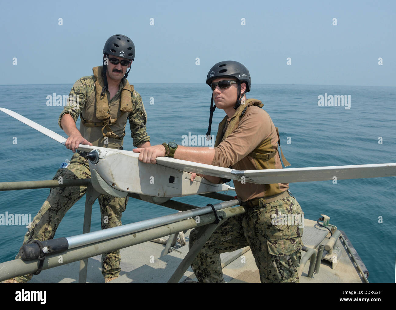 Puma AE unmanned aerial vehicle aboard a Riverine Command Boat (RCB), at-sea. RCBs provide a multi-mission platform for the U.S. - Stock Image