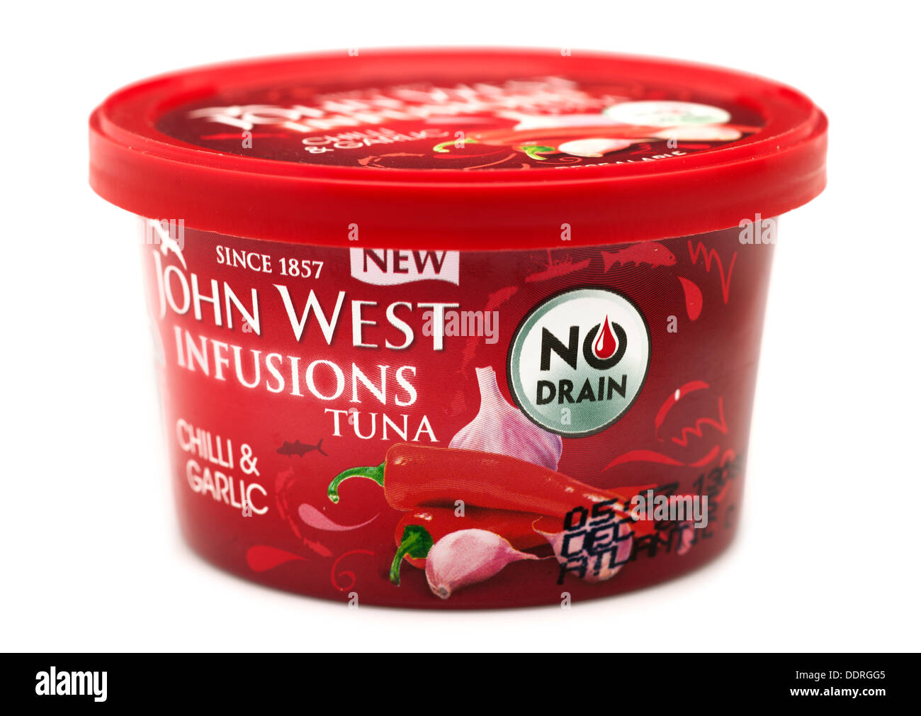 Can of John West chilli and garlic no drain tuna with resealable plastic lid - Stock Image