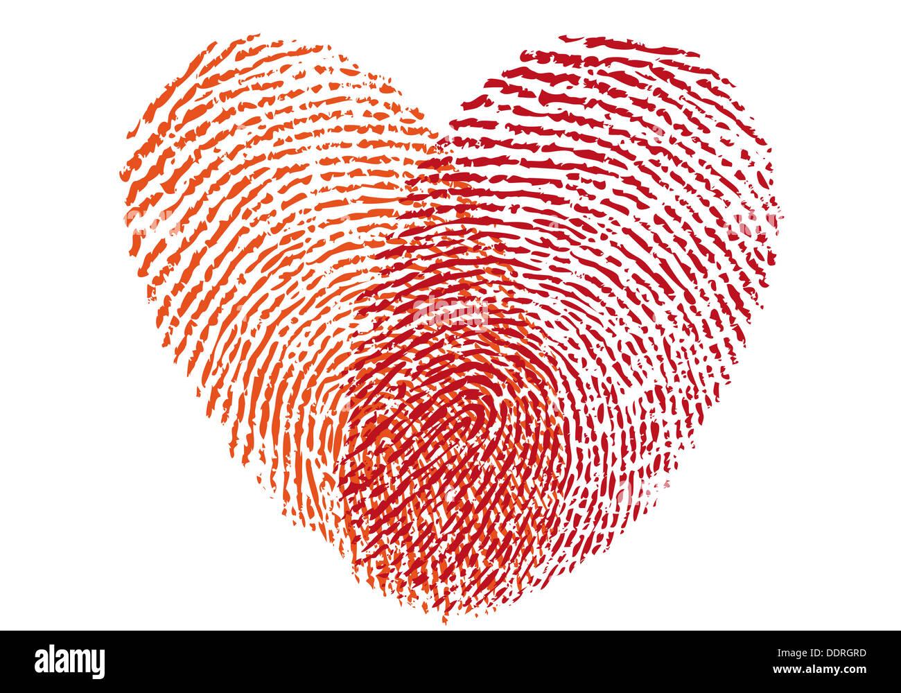 red fingerprint heart, vector design element for wedding invitation ...