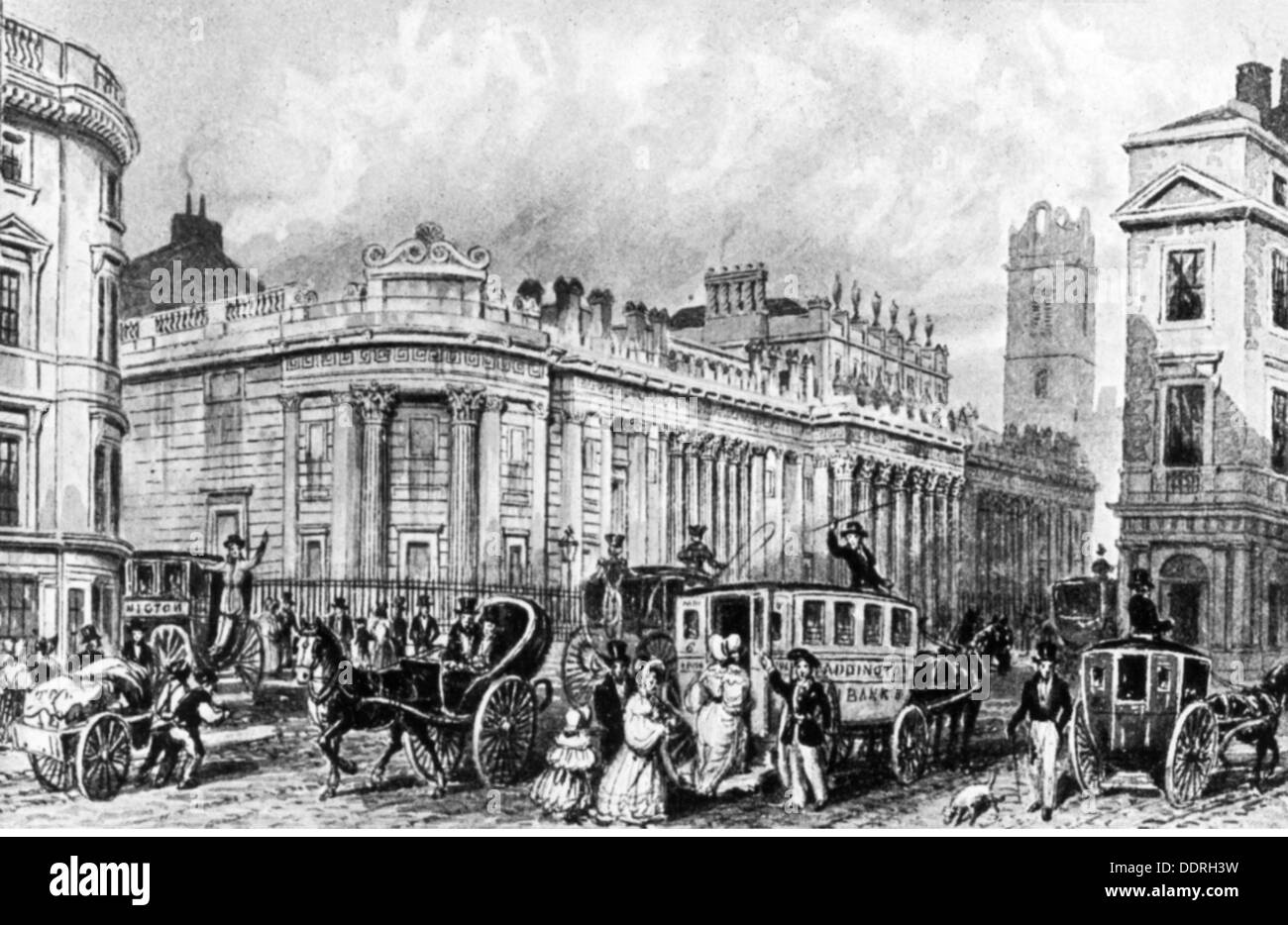 geography / travel, Great Britain, London, buildings, Bank of England, exterior view, after contemporary drawing, circa 1836, Additional-Rights-Clearences-NA - Stock Image