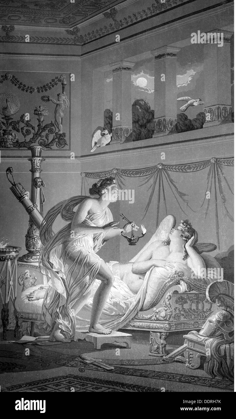 literature Greek mythology Cupid and Psyche from: Apuleius (circa 123 - after 170) 'Metamorphoses' after - Stock Image