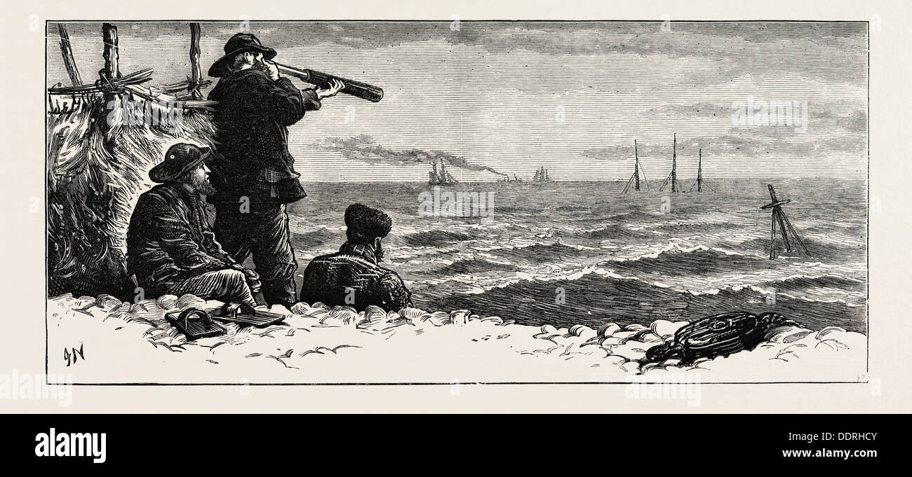 THE NORTHFLEET DISASTER: VIEW OF THE NORTHFLEET FROM DUNGENESS; UK, 1873 engraving - Stock Image