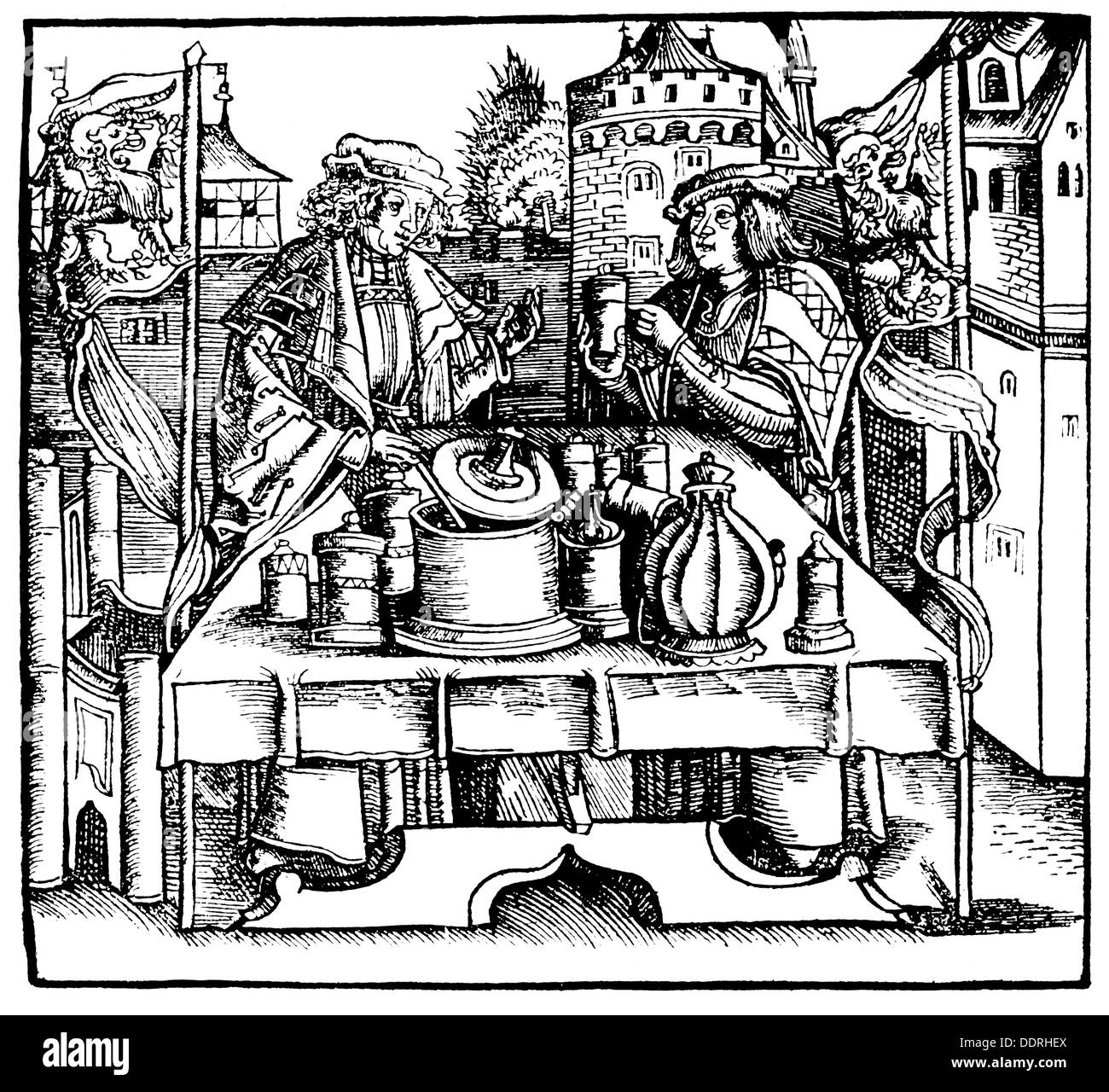 medicine, pharmacy, public making of theriac by a city physician and a apothecary, woodcut, from: Marsilio Ficino Stock Photo