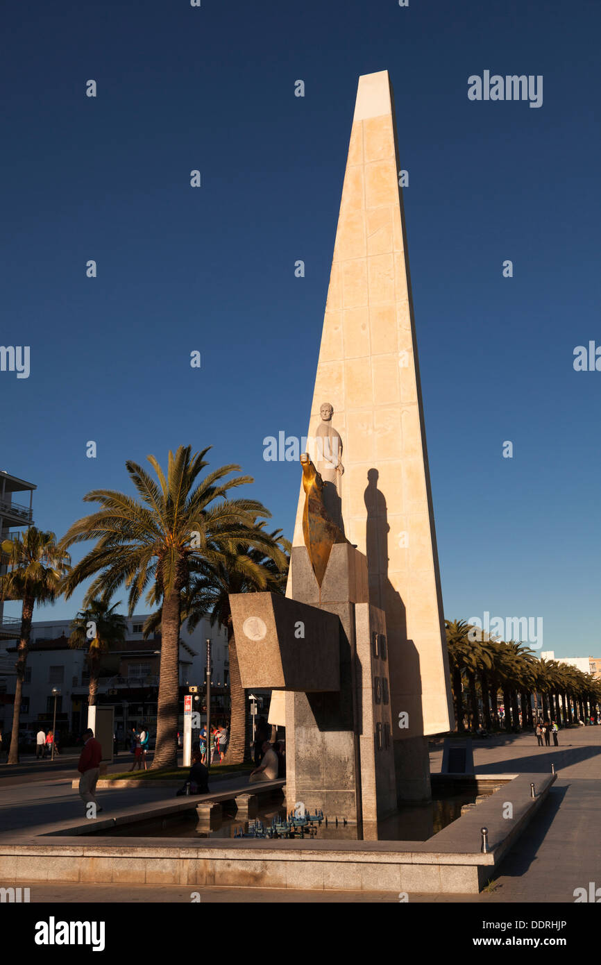 The Jaume I monument at Salou - Stock Image