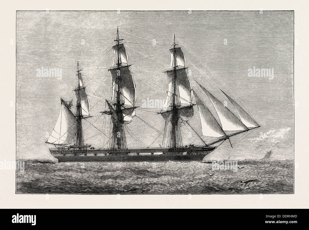 THE SHIP NORTHFILEET, SUNK OFF DUNGENESS, UK, 1873 engraving - Stock Image