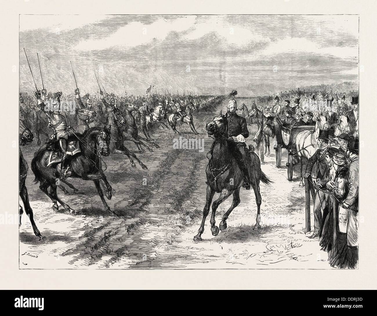 THE REVIEW BEFORE QUEEN VICTORIA AT ALDERSHOT: A CAVALRY CHARGE, HALT, UK - Stock Image