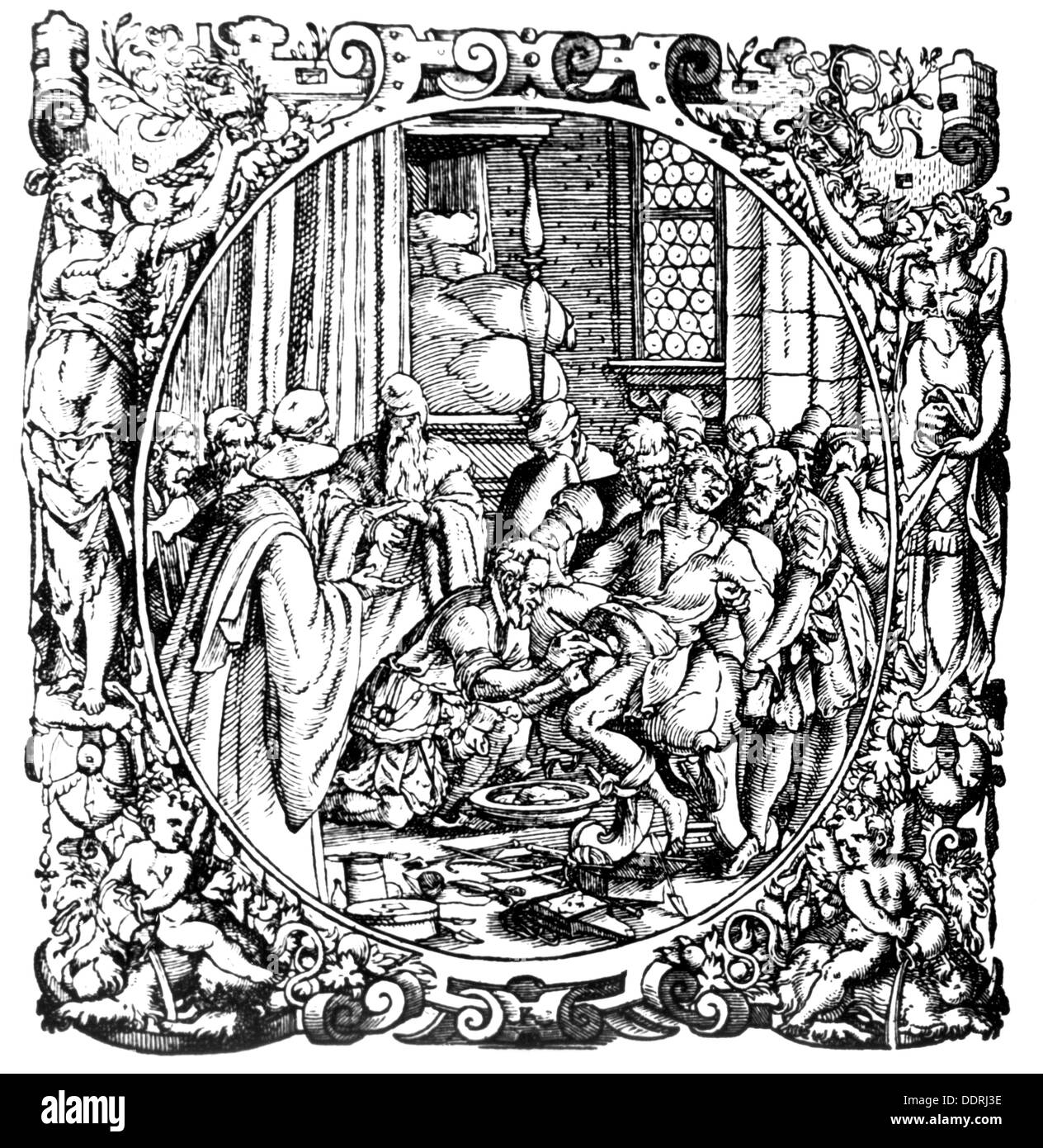 medicine, surgery, lithotomy, woodcut by Jost Amman (1539 - 1591), 16th century, 16th century, graphic, graphics, undergo surgery, need surgery, medical doctor, medic, medics, doc, doctors, docs, physician, physicians, assistant, assistants, helper, helpers, patient, patients, half length, standing, treatment, treatments, treat, treating, doctor, doctoring, operating, operate, knife, knives, cutting, cut, cuts, bladder, bladders, bladder stone, urinary calculus, bladder stones, urinary calculusses, urinary stone, urinary stones, pain, frame, frames, ornament, o, Additional-Rights-Clearences-NA - Stock Image