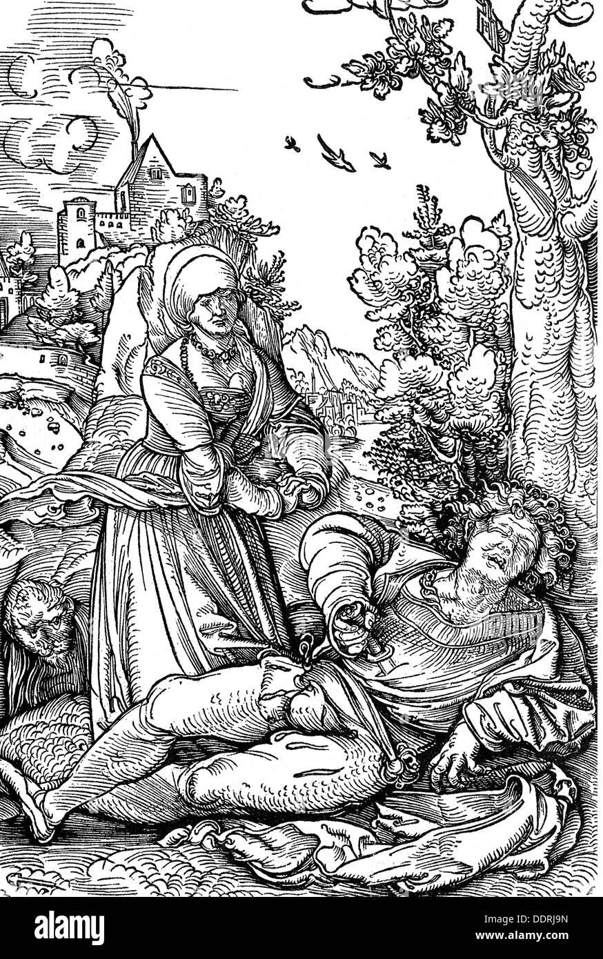 literature Greek mythology Pyramus and Thisbe from: Publius Ovidius Naso (43 BC - 17 AD) 'Metamorphoses' - Stock Image