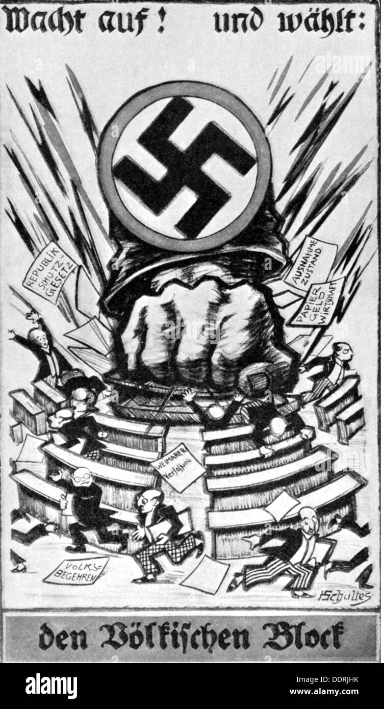 politics, elections, Germany, election campaign for the Reichstag election on 4.5.1924, election poster of the Voelkisch Block, design by H. Schultes, 1924, fist, fists, swastika, swastikas, gammadion, Völkisch Block, VBl, parliament, parliaments, right wing extremist, Diet, propaganda, bill, placard, bills, placards, Weimar Republic, politician, politicians, people, men, man, German Reich, 1920s, 20s, 20th century, politics, policy, elections, polls, election campaign, election campaigns, election poster, election posters, design, designs, historic, historical, Additional-Rights-Clearences-NA - Stock Image