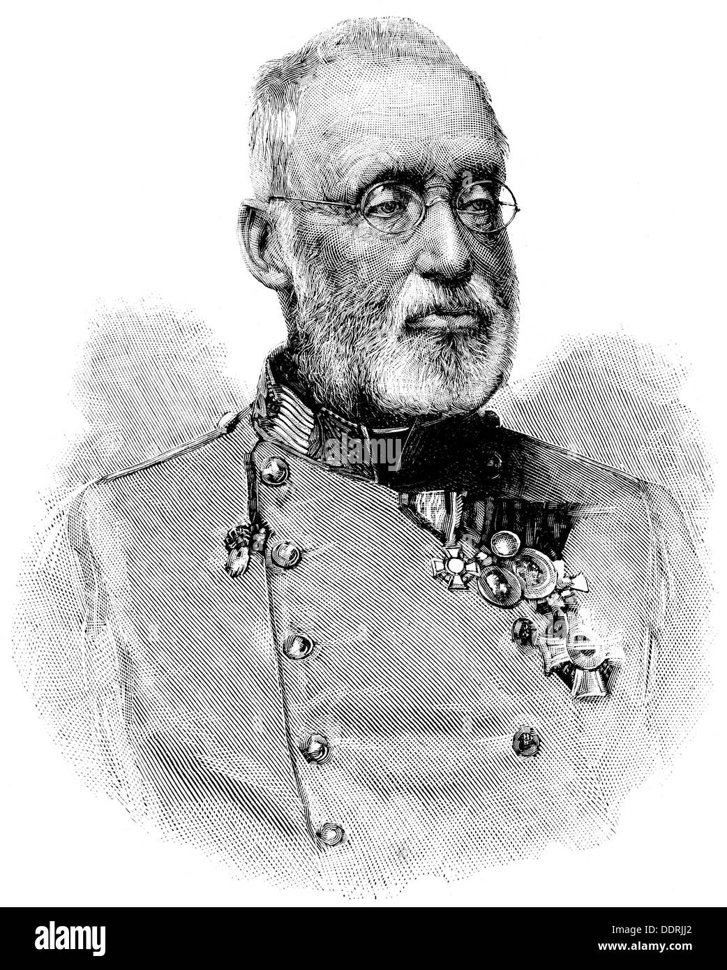 Albrecht, 3.8.1817 - 18.2.1895, Archduke of Austria, Austrian general, inspector general of the Austro-Hungarian Army 1868 - 1895, portrait, wood engraving, circa 1890, Additional-Rights-Clearances-NA - Stock Image