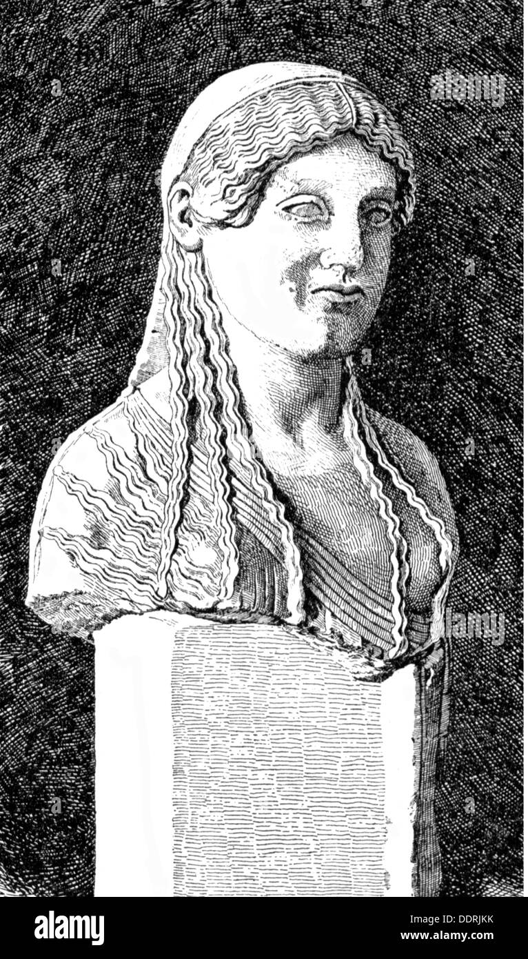 fashion, ancient world, Greece, hair style of a woman, after of a bust, wood engraving, 19th century, 19th century, ancient world, ancient times, graphic, graphics, fine arts, art, sculpturing, bust, busts, sculpture, sculptures, statue, statues, hair style, hairstyle, hairdo, haircut, hair styles, hairstyles, haircuts, wisp, wisp of hair, wisps, wisps of hair, historic, historical, woman, women, female, people, ancient world, Additional-Rights-Clearences-NA - Stock Image